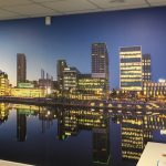 Galloways finish office refurbishment with digital wallpaper of Media City. Photography supplied by Liam, a Galloways employee and keen part time photographer.